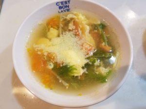 トマトと水菜のコンソメスープ