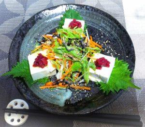 豆腐の梅サラダ