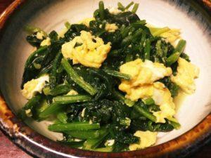 ホウレン草と卵の炒め物