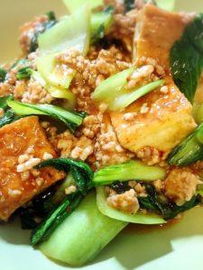 チンゲンサイと厚揚げ豆腐のピリ辛炒め